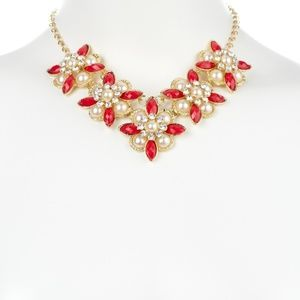 Red Crystal and Pearl Flora Necklace